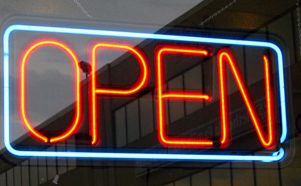 open for business, open sign