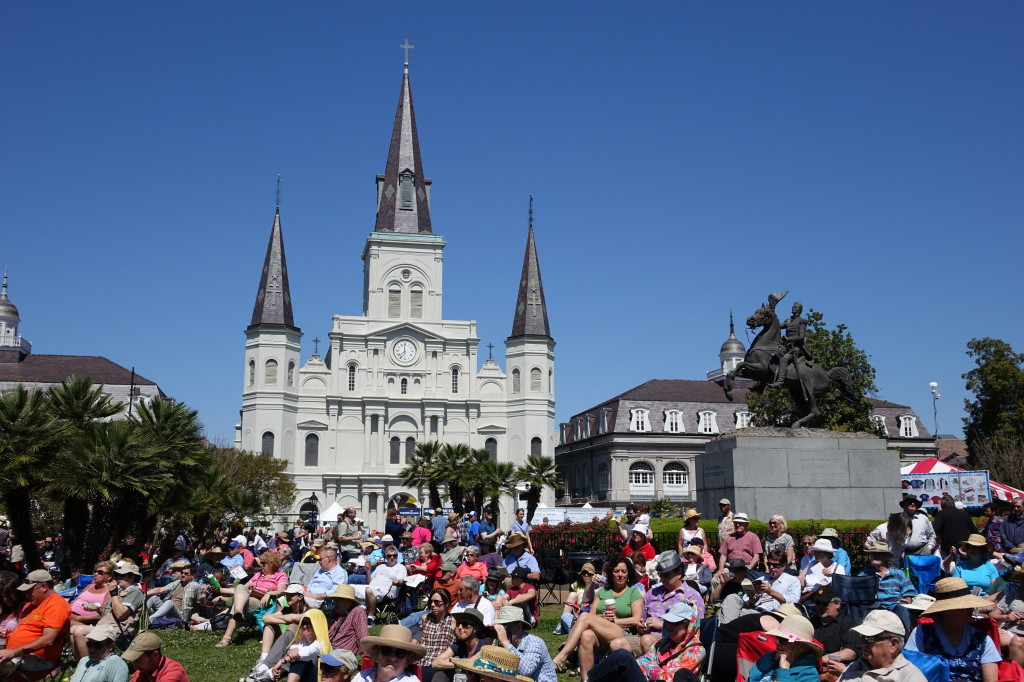Locals and visitors pack Jackson Square for French Quarter Fest