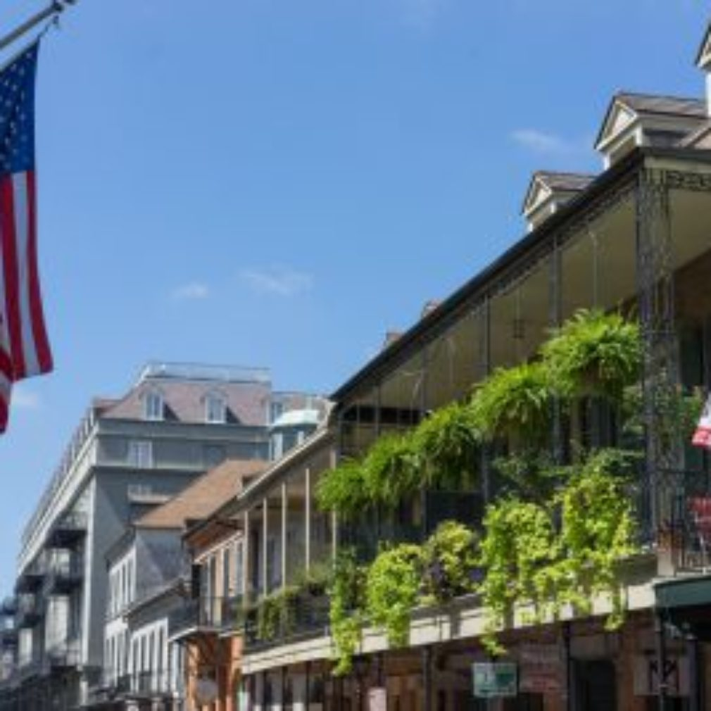 French quarter with US Flag