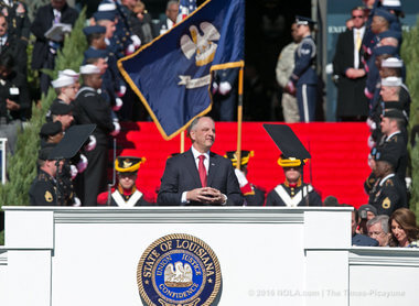 John Bel Edwards gives his inaugural speech. (Photo via The Times-Picayune/Nola.com)