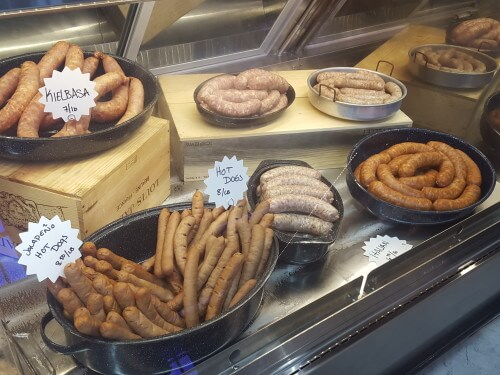 A selection of sausages and hot dogs, all made in house. (Photo courtesy of Dryades Public Market)